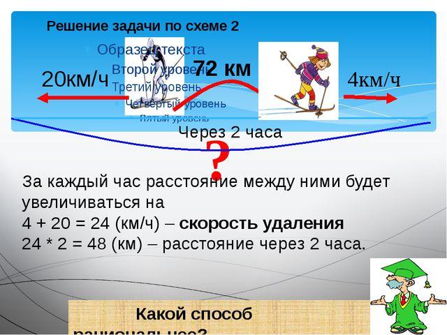 Решение задачи по схеме 2 ? 4км/ч 20км/ч 72 км Через 2 часа За каждый час ра...