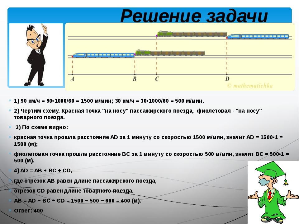 1) 90 км/ч = 90•1000/60 = 1500 м/мин; 30 км/ч = 30•1000/60 = 500 м/мин. 2) Че...
