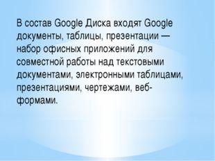 В состав Google Диска входят Google документы, таблицы, презентации — набор о