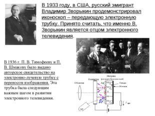 В 1933 году, в США, русский эмигрант Владимир Зворыкин продемонстрировал икон