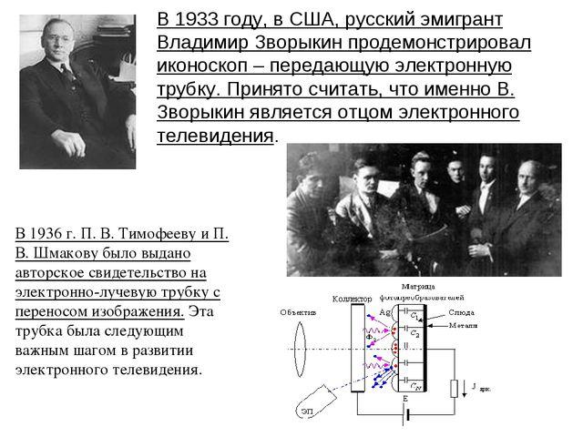 В 1933 году, в США, русский эмигрант Владимир Зворыкин продемонстрировал икон...