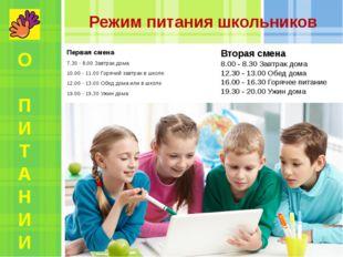 Режим питания школьников Первая смена 7.30 - 8.00 Завтрак дома 10.00 - 11.00