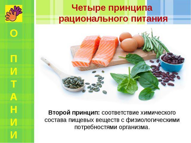Второй принцип: соответствие химического состава пищевых веществ с физиологич...