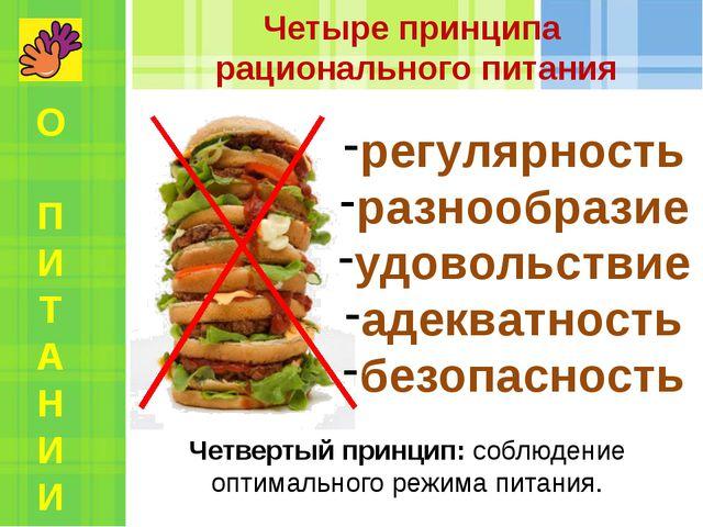 Четвертый принцип: соблюдение оптимального режима питания. Четыре принципа ра...
