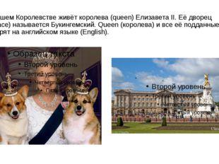 В нашем Королевстве живёт королева (queen) Елизавета II. Её дворец (palace) н