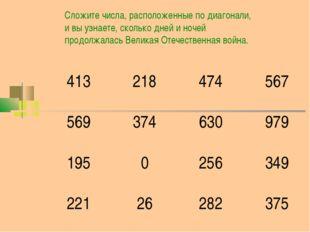 Сложите числа, расположенные по диагонали, и вы узнаете, сколько дней и ночей