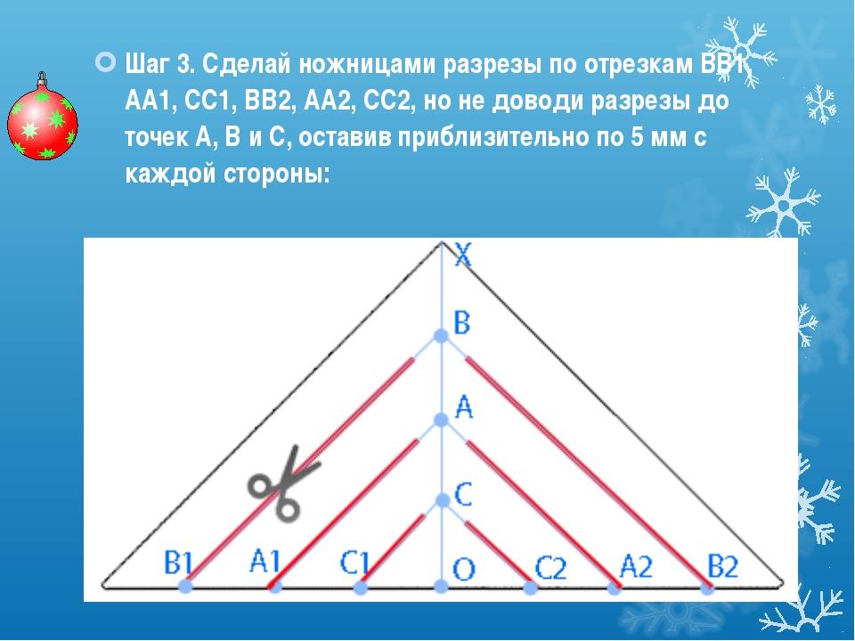 Шаг 3. Сделай ножницами разрезы по отрезкам ВВ1, АА1, СС1, ВВ2, АА2, СС2, но...