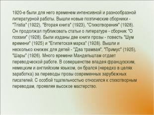 1920-е были для него временем интенсивной и разнообразной литературной работы