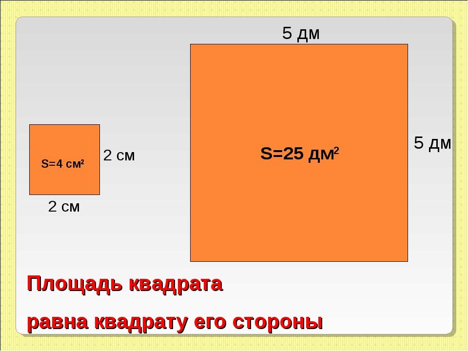 5 дм 5 дм S=25 дм2 2 см 2 см S=4 см2 Площадь квадрата равна квадрату его стор...