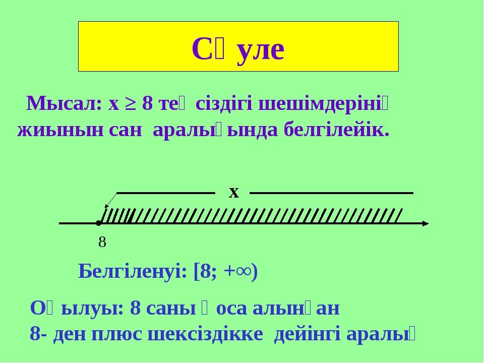 Мысал: х ≥ 8 теңсіздігі шешімдерінің жиынын сан аралығында белгілейік. Сәуле...