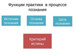 Функции практики в процессе познания Источник познания Основа познания Цель п