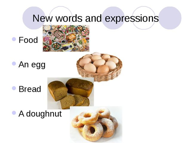 New words and expressions Food An egg Bread A doughnut
