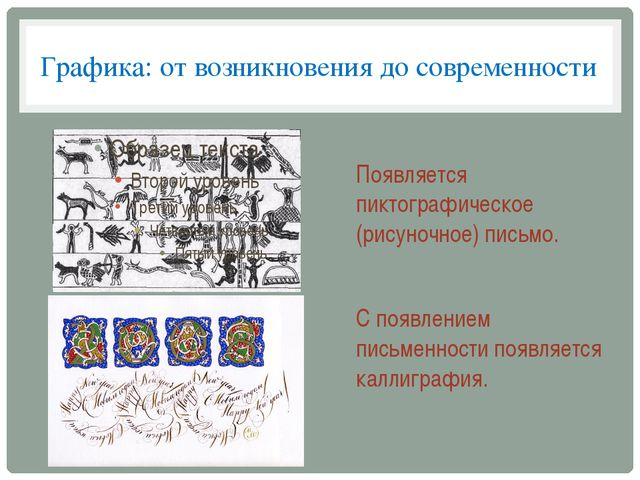 Графика: от возникновения до современности Появляется пиктографическое (рисун...