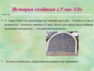 История создания г.Улан-Удэ 1. Город Улан-Удэ расположен на слиянии двух рек