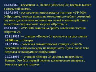 18.03.1965 - космонавт А. Леонов («Восход-2») впервые вышел в открытый космос