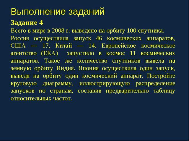 Выполнение заданий Задание 4 Всего в мире в 2008 г. выведено на орбиту 100 сп...