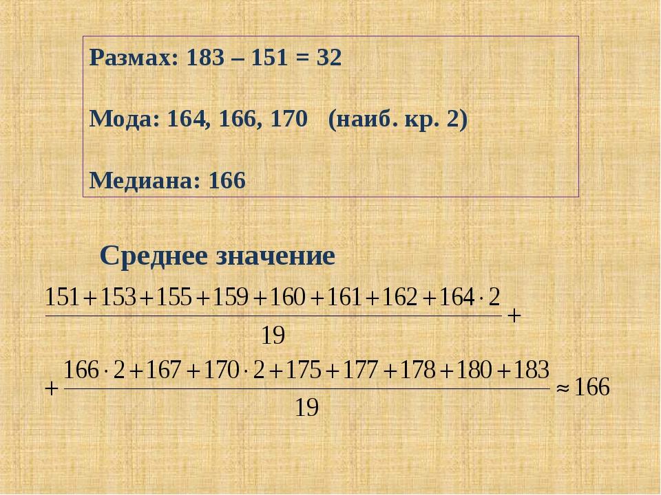 Размах: 183 – 151 = 32 Мода: 164, 166, 170 (наиб. кр. 2) Медиана: 166 Среднее...