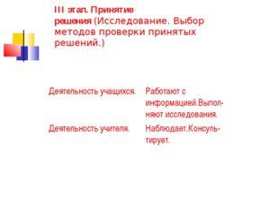 III этап. Принятие решения(Исследование. Выбор методов проверки принятых реш