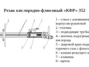 Резак кислородно-флюсовый «КФР» 352 1 – ствол с алюминиевым корпусом-рукоятко