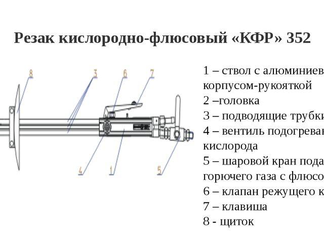 Резак кислородно-флюсовый «КФР» 352 1 – ствол с алюминиевым корпусом-рукоятко...