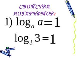 СВОЙСТВА ЛОГАРИФМОВ: