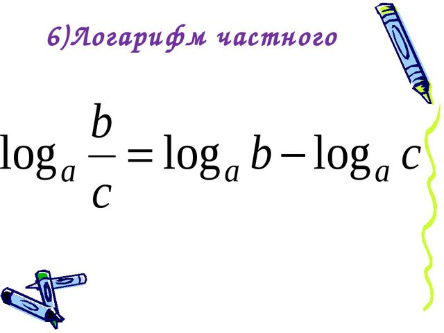6)Логарифм частного