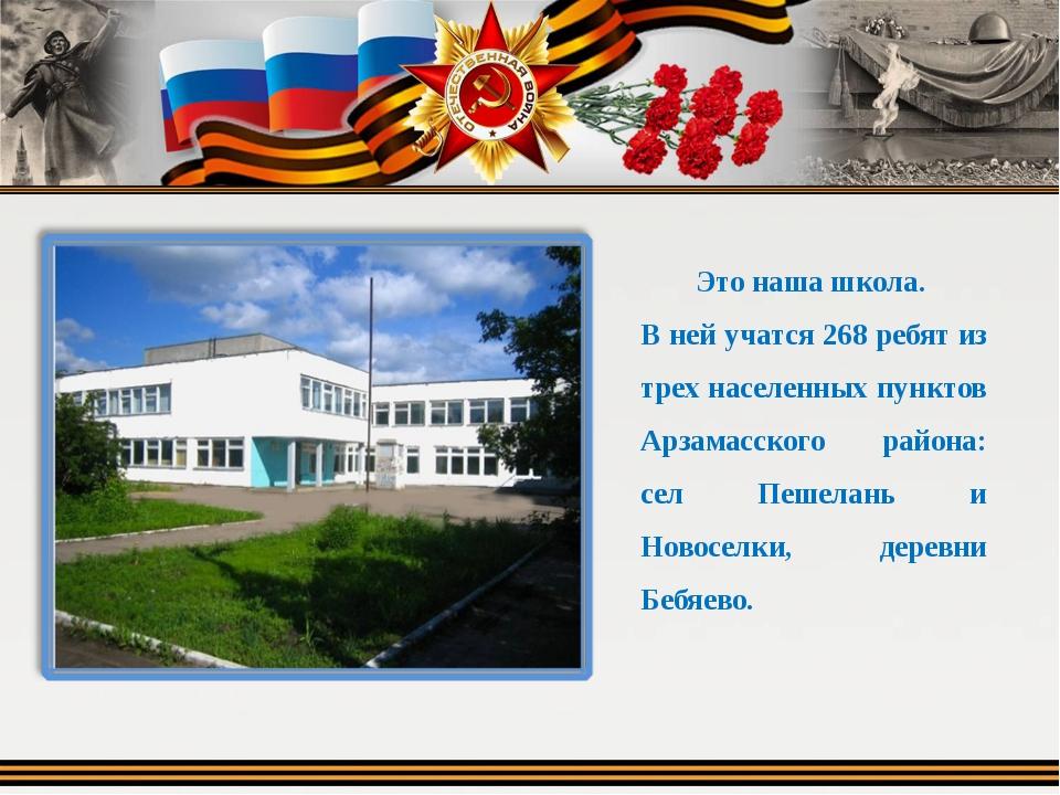 Это наша школа. В ней учатся 268 ребят из трех населенных пунктов Арзамасског...
