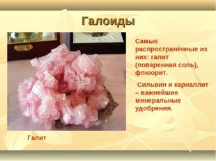 Галоиды Галит Самые распространённые из них: галит (поваренная соль), флюорит