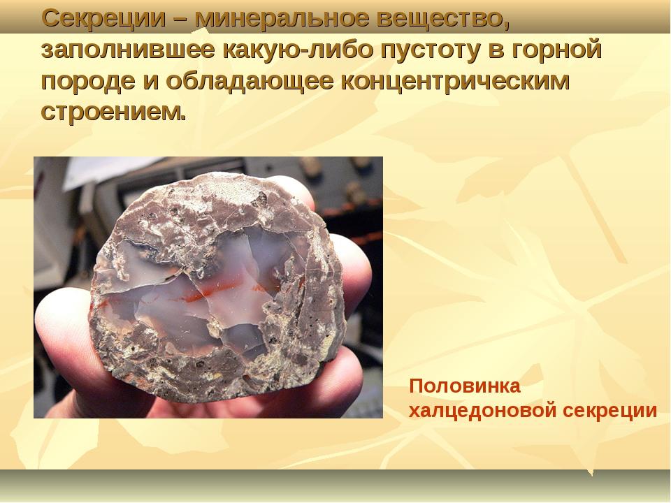 Секреции – минеральное вещество, заполнившее какую-либо пустоту в горной поро...