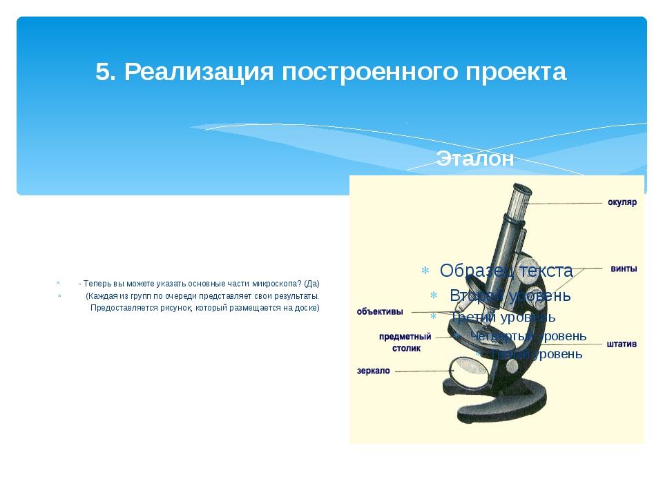 5. Реализация построенного проекта - Теперь вы можете указать основные части...