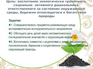 Задачи: 1. Совершенствовать предметно-развивающую среду экспериментально-иссл