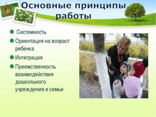 Системность Ориентация на возраст ребенка Интеграция Преемственность взаимод