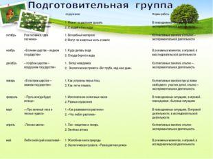 месяцтема содержаниеФормы работы сентябрь« В зелённом царстве – лесном го