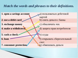 Match the words and phrases to their definitions. 1. open a savings account a