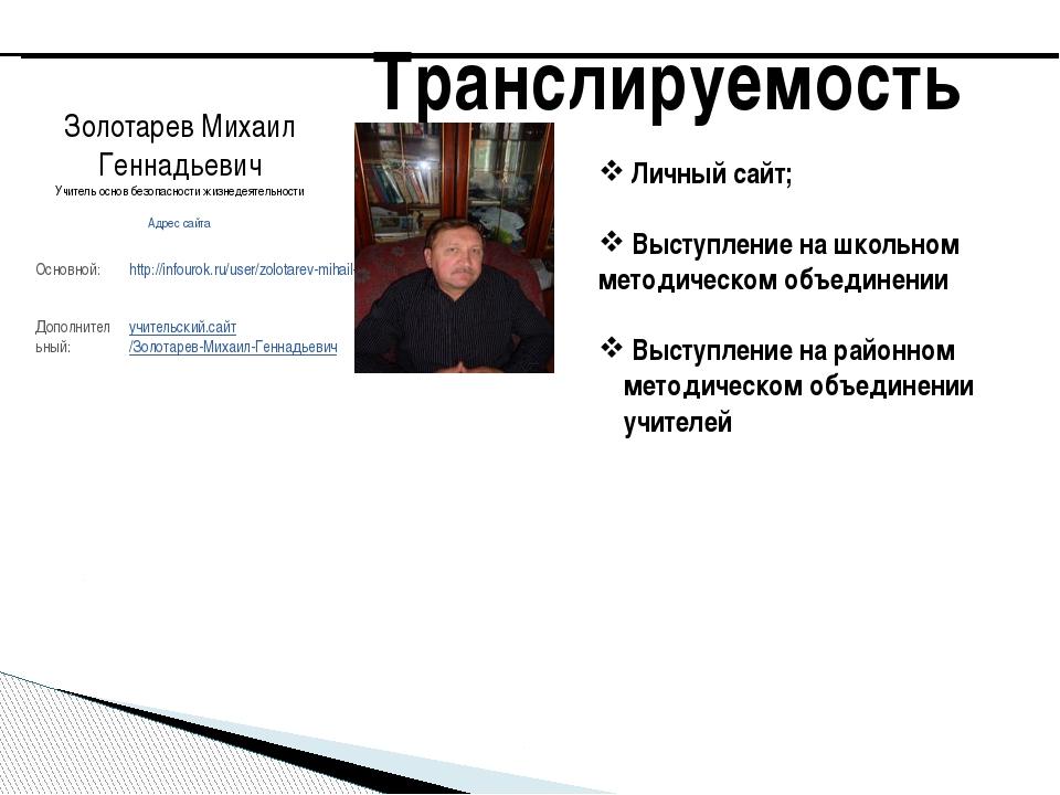 Транслируемость Личный сайт; Выступление на школьном методическом объединении...