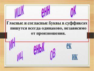 Гласные и согласные буквы в суффиксах пишутся всегда одинаково, независимо от