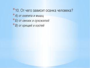 10. От чего зависит осанка человека? А) от скелета и мышц Б) от связок и сух