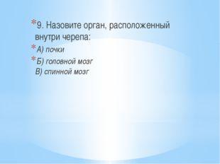9. Назовите орган, расположенный внутри черепа: А) почки Б) головной мозг В)