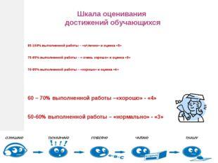 85-100% выполненной работы – «отлично» и оценка «5» 75-85% выполненной работ