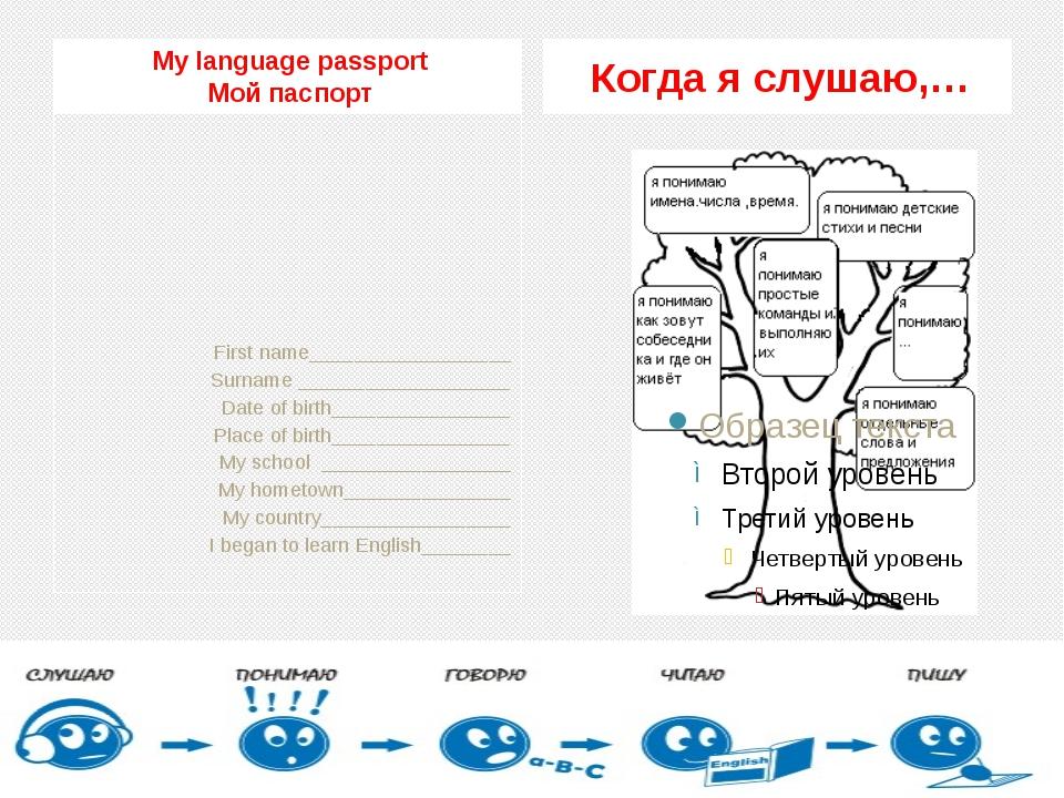 My language passport Мой паспорт Когда я слушаю,… First name________________...