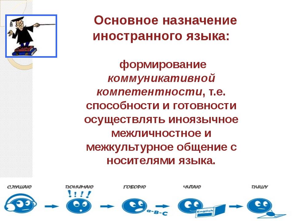 Основное назначение иностранного языка: формирование коммуникативной компете...