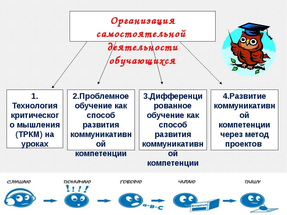 Организация самостоятельной деятельности обучающихся 4.Развитие коммуникативн...