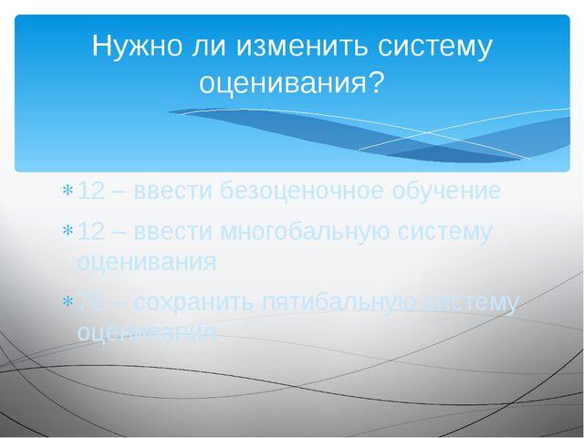 12 – ввести безоценочное обучение 12 – ввести многобальную систему оценивания...