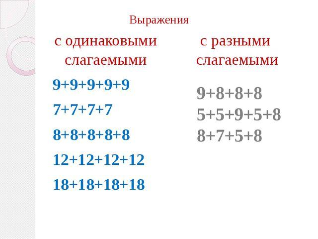 Выражения 9+9+9+9+9 7+7+7+7 8+8+8+8+8 12+12+12+12 18+18+18+18 9+8+8+8 5+5+9+5...