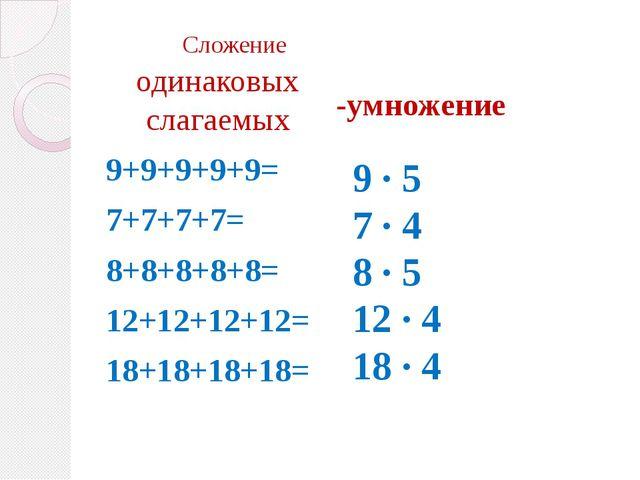 Сложение 9+9+9+9+9= 7+7+7+7= 8+8+8+8+8= 12+12+12+12= 18+18+18+18= одинаковых...