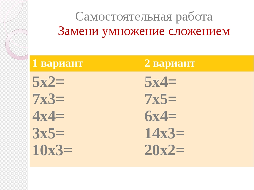 Самостоятельная работа Замени умножение сложением 1 вариант 2 вариант 5х2= 7х...