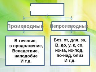 Предлоги Производные Непроизводные Без, от, для, за, В, до, у, к, со, из-за,