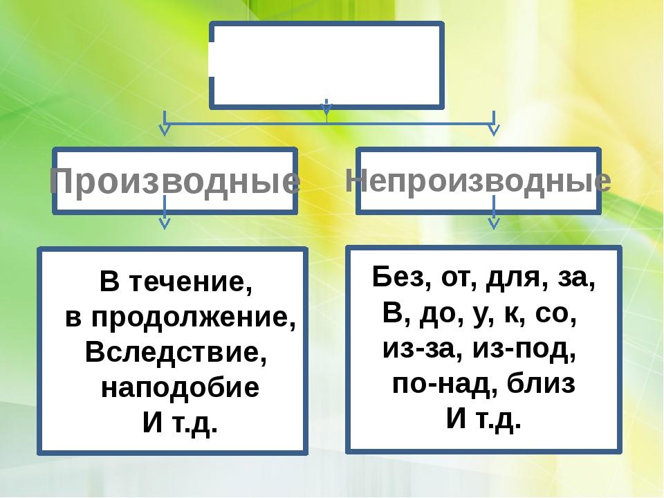Предлоги Производные Непроизводные Без, от, для, за, В, до, у, к, со, из-за,...