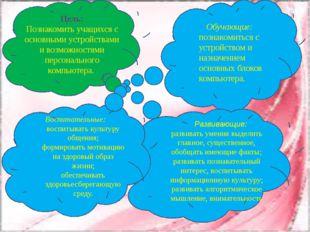 Цель: Познакомить учащихся с основными устройствами и возможностями персональ