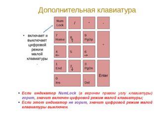 Дополнительная клавиатура Если индикатор NumLock (в верхнем правом углу клави